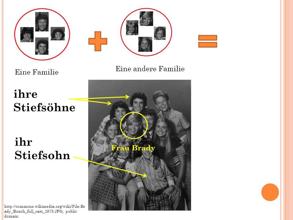 ihr Stiefsohn ihre Stiefsöhne Eine Familie Eine andere Familie http://commons.wikimedia.org/wiki/File:Br ady_Bunch_full_cast_1973.JPG, public domain F