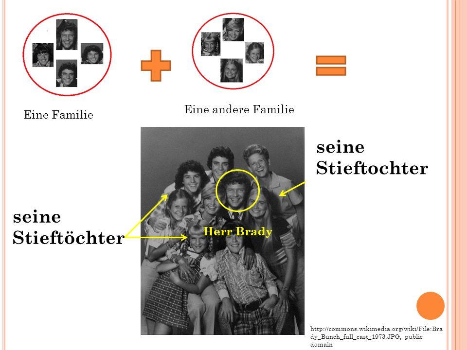 seine Stieftochter seine Stieftöchter Eine Familie Eine andere Familie http://commons.wikimedia.org/wiki/File:Bra dy_Bunch_full_cast_1973.JPG, public