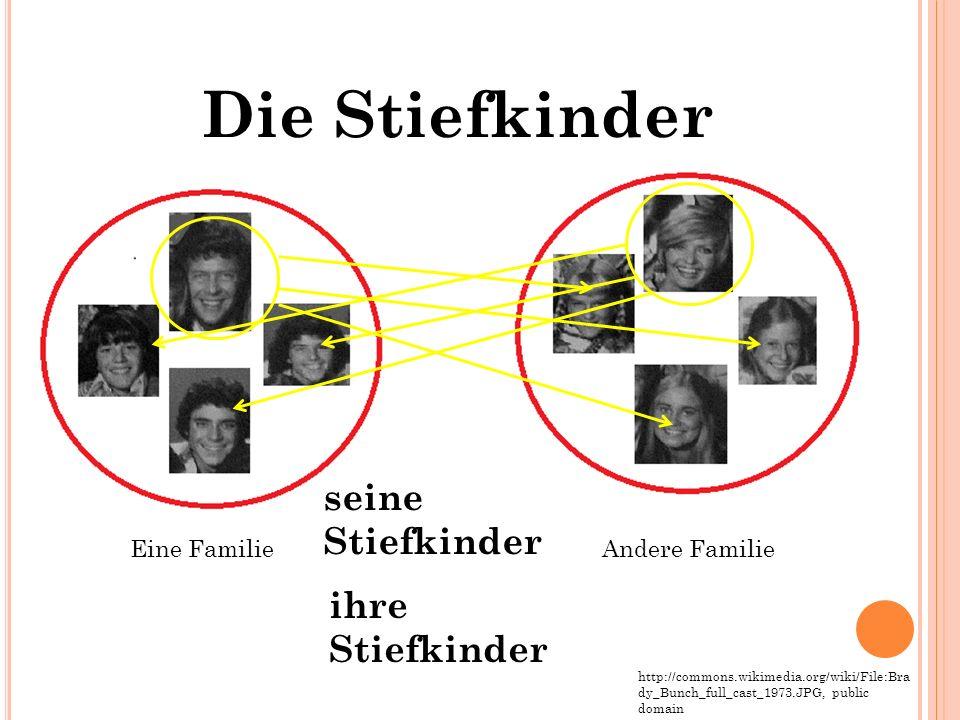 Eine FamilieAndere Familie http://commons.wikimedia.org/wiki/File:Bra dy_Bunch_full_cast_1973.JPG, public domain Die Stiefkinder seine Stiefkinder ihre Stiefkinder