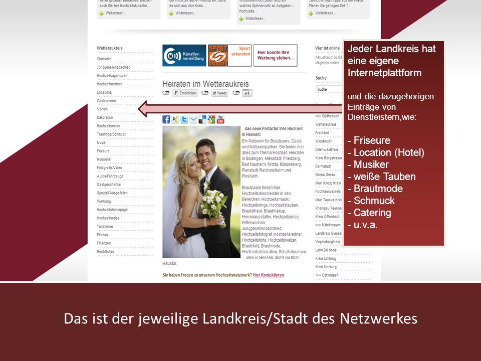 www.hochzeitsnetzwerk.de Das ist der jeweilige Landkreis/Stadt des Netzwerkes Jeder Landkreis hat eine eigene Internetplattform und die dazugehörigen