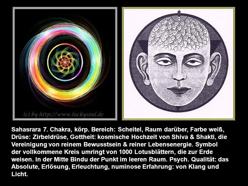 6. Chakra körp. Bereich: Stirnmitte, Augen, rechte & linke Gehirnhälfte, Nase. Farbe lila, nachtblau, feinstoffl. Element Geistesbewusst- sein, Tatorg