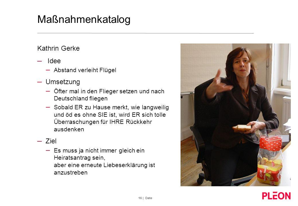 16 | Date Maßnahmenkatalog Kathrin Gerke – Idee – Abstand verleiht Flügel – Umsetzung – Öfter mal in den Flieger setzen und nach Deutschland fliegen –
