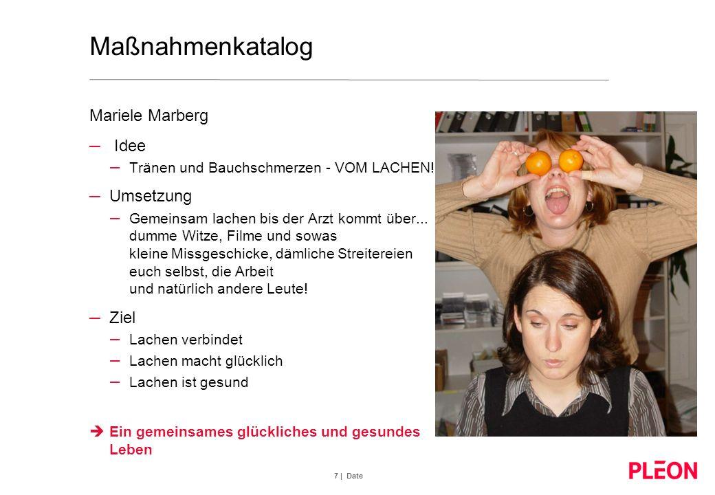 7 | Date Maßnahmenkatalog Mariele Marberg – Idee – Tränen und Bauchschmerzen - VOM LACHEN!! – Umsetzung – Gemeinsam lachen bis der Arzt kommt über...