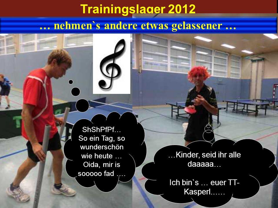 Trainingslager 2012 … nehmen`s andere etwas gelassener … …Kinder, seid ihr alle daaaaa… Ich bin`s … euer TT- Kasperl..…. ShShPfPf… So ein Tag, so wund