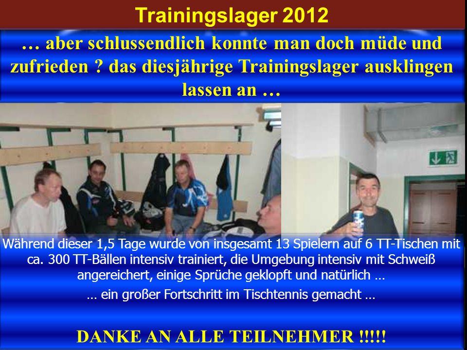 Trainingslager 2012 … aber schlussendlich konnte man doch müde und zufrieden ? das diesjährige Trainingslager ausklingen lassen an … Während dieser 1,