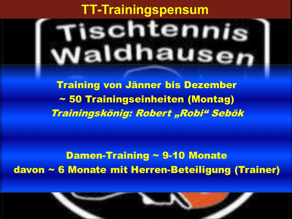 TT-Trainingspensum Training von Jänner bis Dezember ~ 50 Trainingseinheiten (Montag) Trainingskönig: Robert Robi Sebök Damen-Training ~ 9-10 Monate da