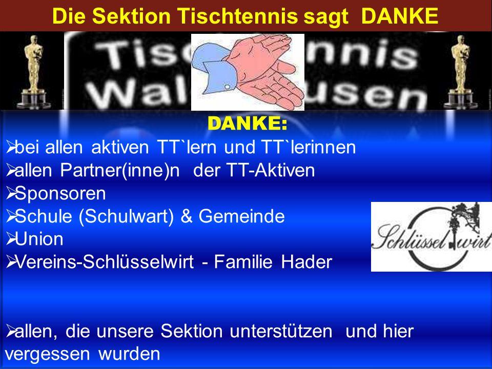 Die Sektion Tischtennis sagt DANKE DANKE: bei allen aktiven TT`lern und TT`lerinnen allen Partner(inne)n der TT-Aktiven Sponsoren Schule (Schulwart) &