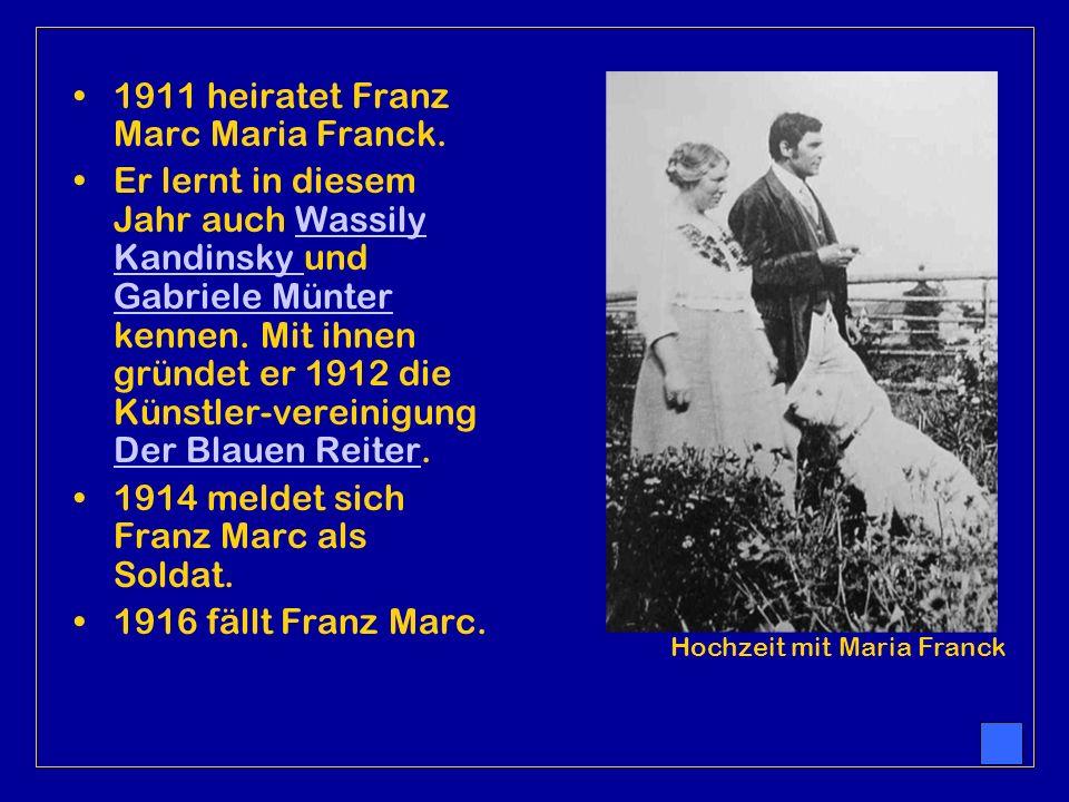So verläuft Franz´Leben Am 8. Februar 1880 wird Franz Marc in München geboren. 1900 beginnt er Kunst zu studieren. 1903 beschließt Franz Marc nach ein