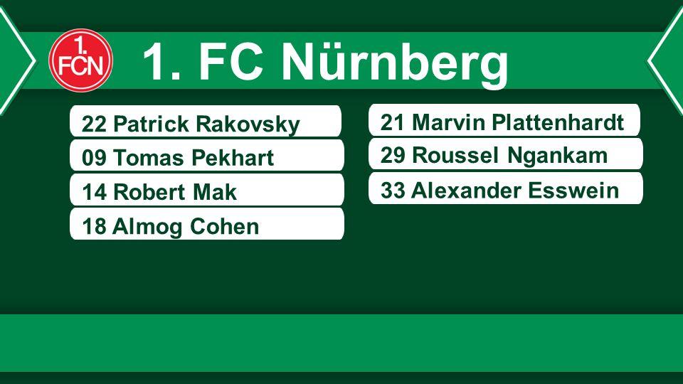 22 Patrick Rakovsky 09 Tomas Pekhart 14 Robert Mak 21 Marvin Plattenhardt 29 Roussel Ngankam 18 Almog Cohen 33 Alexander Esswein 1. FC Nürnberg