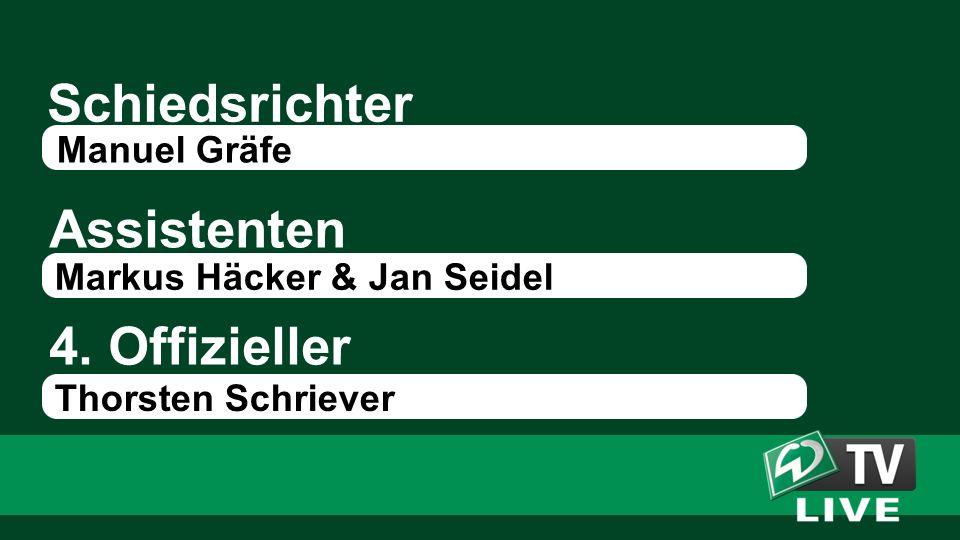 Schiedsrichter Assistenten Manuel Gräfe Markus Häcker & Jan Seidel 4. Offizieller Thorsten Schriever