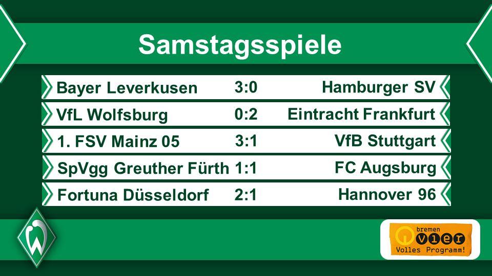 - Samstagsspiele VfL Wolfsburg Eintracht Frankfurt0:2 Bayer Leverkusen Hamburger SV3:0 1. FSV Mainz 05 VfB Stuttgart3:1 SpVgg Greuther Fürth FC Augsbu