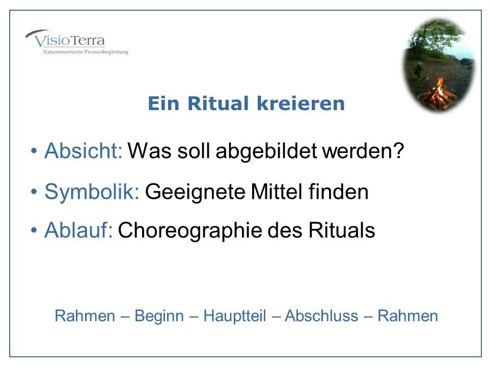 Ein Ritual kreieren Absicht: Was soll abgebildet werden? Symbolik: Geeignete Mittel finden Ablauf: Choreographie des Rituals Rahmen – Beginn – Hauptte