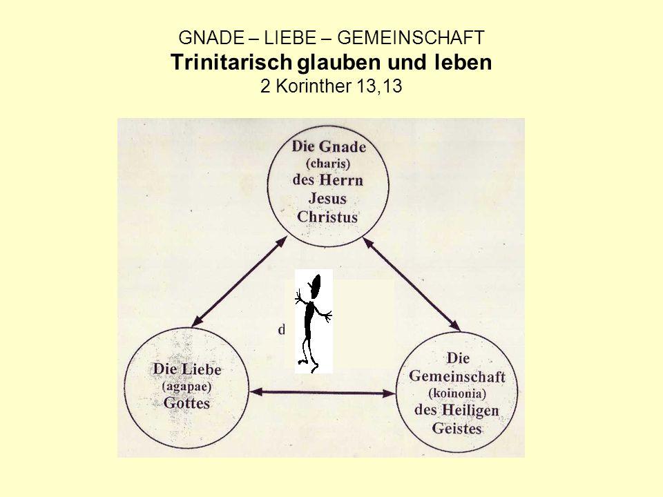 GNADE – LIEBE – GEMEINSCHAFT Trinitarisch glauben und leben 2 Korinther 13,13