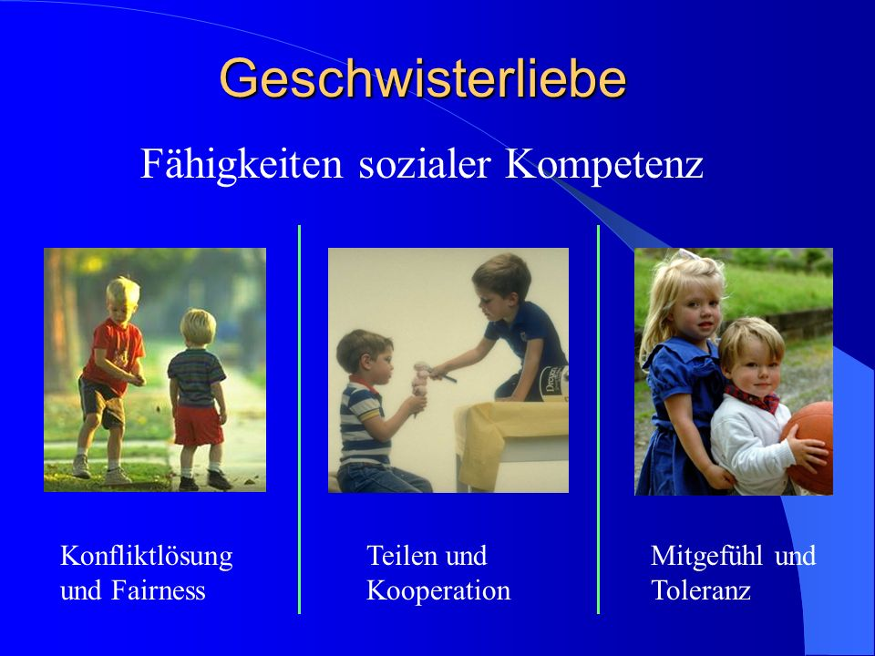 Fähigkeiten sozialer Kompetenz Konfliktlösung und Fairness Teilen und Kooperation Mitgefühl und Toleranz Geschwisterliebe
