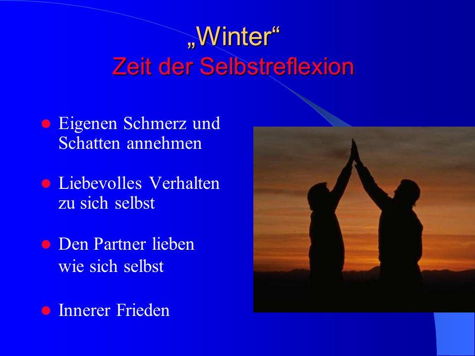 Winter Zeit der Selbstreflexion Eigenen Schmerz und Schatten annehmen Liebevolles Verhalten zu sich selbst Den Partner lieben wie sich selbst Innerer Frieden