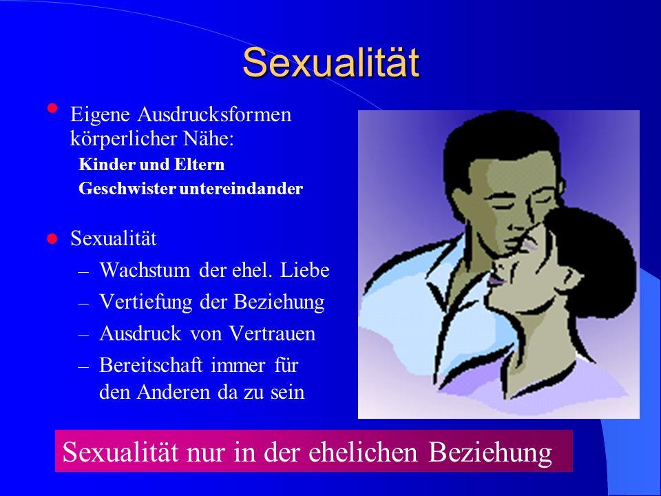 Sexualität Eigene Ausdrucksformen körperlicher Nähe: Kinder und Eltern Geschwister untereindander Sexualität – Wachstum der ehel.