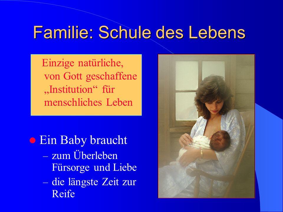 Familie: Schule des Lebens Einzige natürliche, von Gott geschaffene Institution für menschliches Leben Ein Baby braucht – zum Überleben Fürsorge und Liebe – die längste Zeit zur Reife