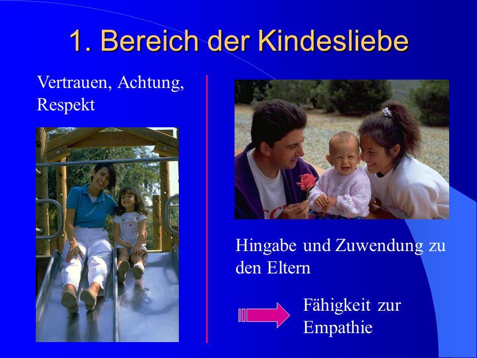Vertrauen, Achtung, Respekt Hingabe und Zuwendung zu den Eltern Fähigkeit zur Empathie 1.