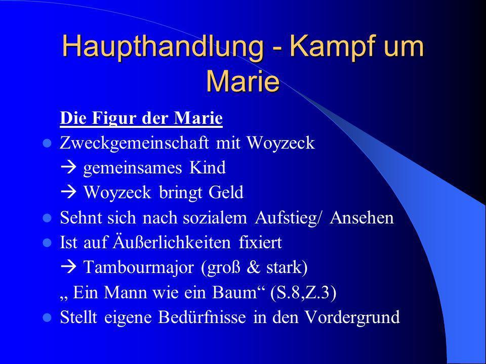 Haupthandlung - Kampf um Marie Die Figur der Marie Zweckgemeinschaft mit Woyzeck gemeinsames Kind Woyzeck bringt Geld Sehnt sich nach sozialem Aufstie