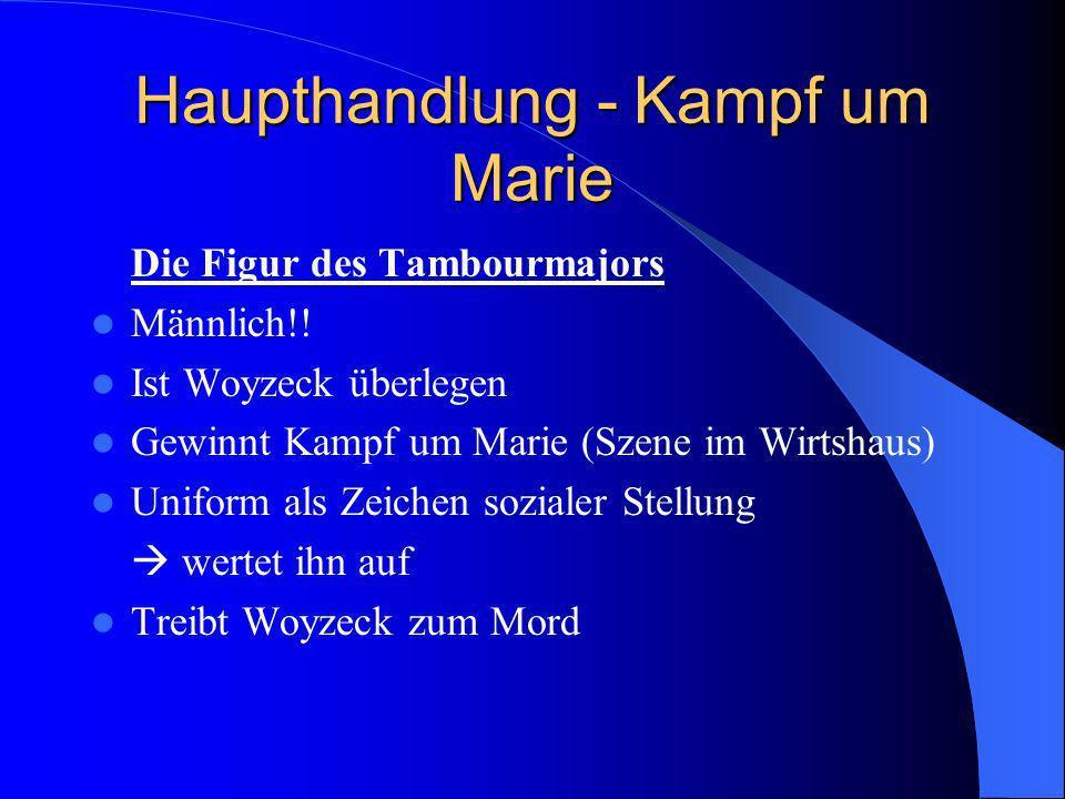 Haupthandlung - Kampf um Marie Die Figur des Tambourmajors Männlich!! Ist Woyzeck überlegen Gewinnt Kampf um Marie (Szene im Wirtshaus) Uniform als Ze