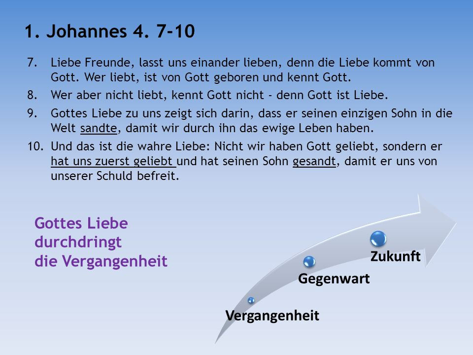 11.Liebe Freunde, weil Gott uns so sehr geliebt hat, sollen wir auch einander lieben.