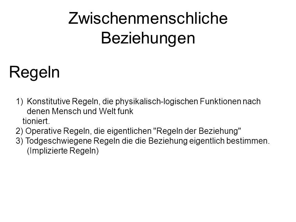 Zwischenmenschliche Beziehungen Regeln 1)Konstitutive Regeln, die physikalisch-logischen Funktionen nach denen Mensch und Welt funk tioniert. 2) Opera