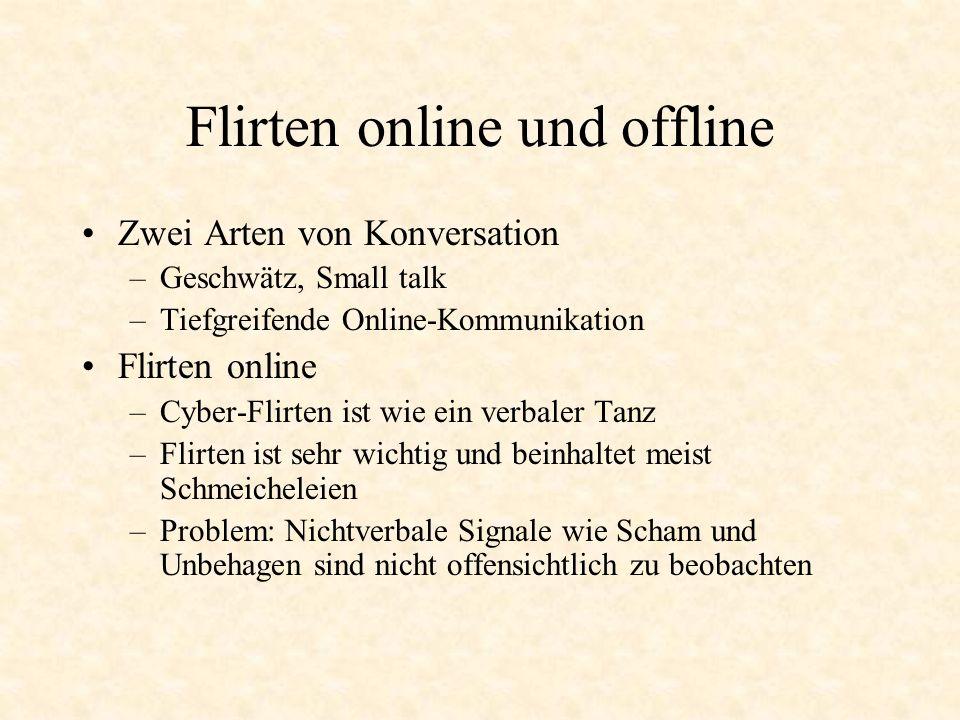 Flirten online und offline Zwei Arten von Konversation –Geschwätz, Small talk –Tiefgreifende Online-Kommunikation Flirten online –Cyber-Flirten ist wi