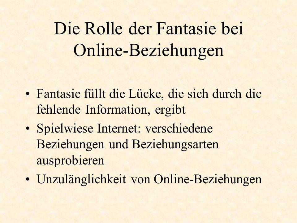 Die Rolle der Fantasie bei Online-Beziehungen Fantasie füllt die Lücke, die sich durch die fehlende Information, ergibt Spielwiese Internet: verschied