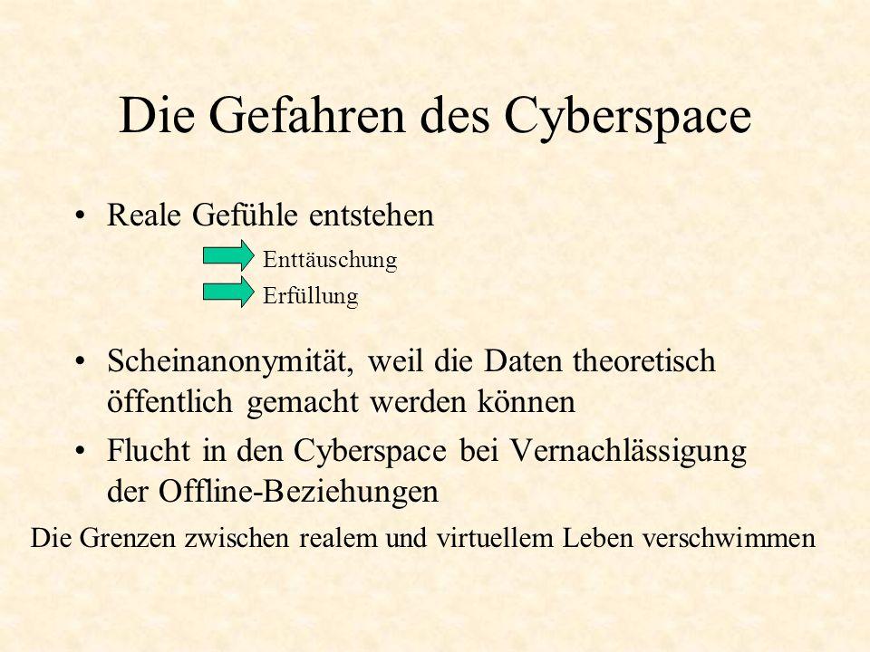 Die soziale Komponente des Cyberspace Bei moderater Nutzung: Kontaktfördernd Erweiterung des sozialen Umfelds Bei übertriebener Nutzung: Vereinsamung Passivität Realitätsverlust