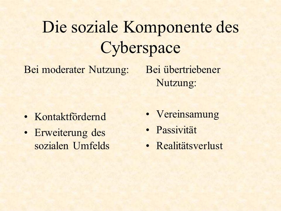 Die soziale Komponente des Cyberspace Bei moderater Nutzung: Kontaktfördernd Erweiterung des sozialen Umfelds Bei übertriebener Nutzung: Vereinsamung