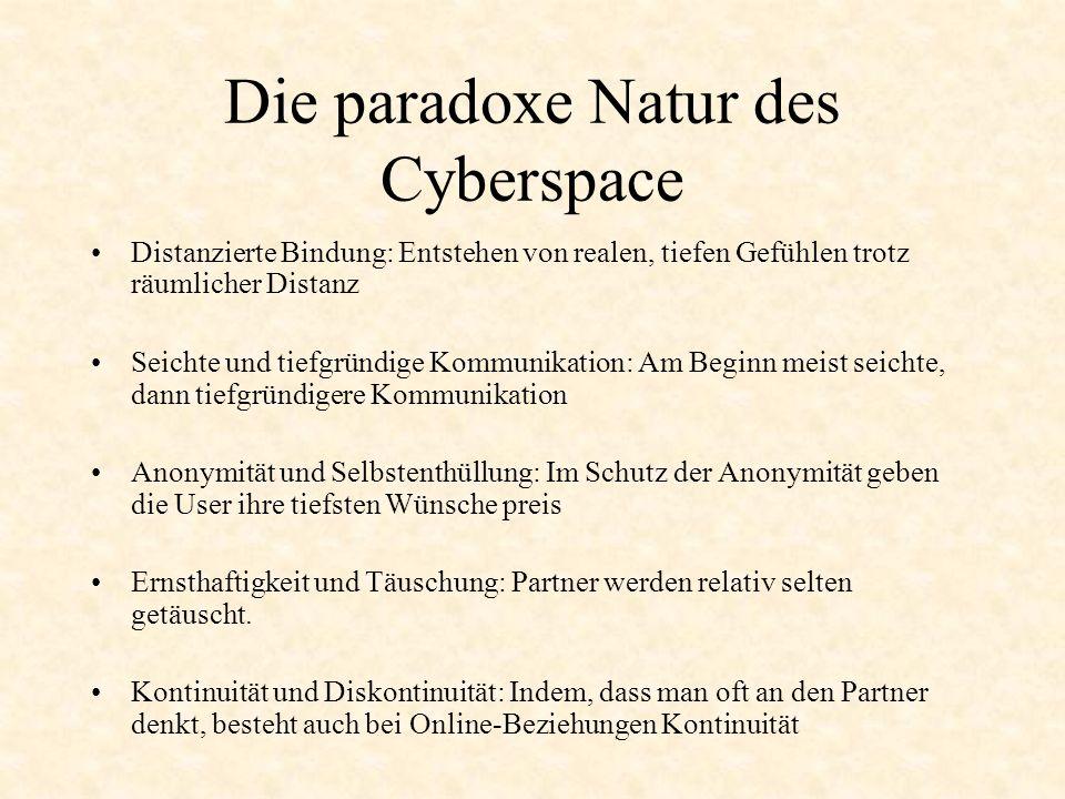 Die paradoxe Natur des Cyberspace Distanzierte Bindung: Entstehen von realen, tiefen Gefühlen trotz räumlicher Distanz Seichte und tiefgründige Kommun