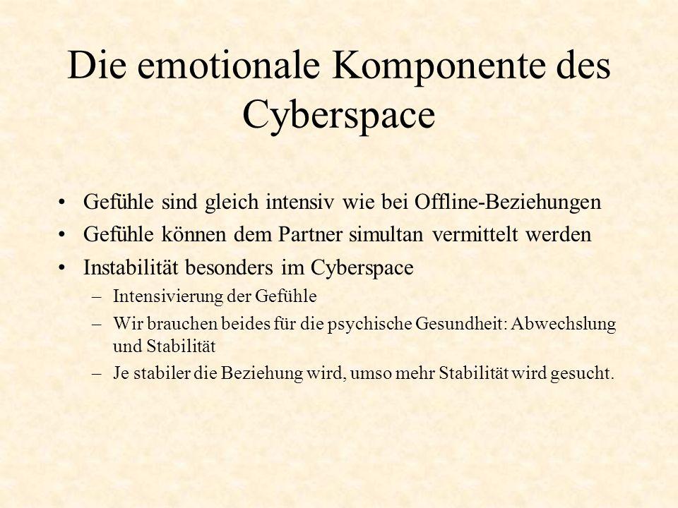 Chatting ist cheating Moral von Online-Affären –Die Gefühle der Beteiligten können sehr oberflächlich, aber auch sehr tiefgreifend sein –Trennung zwischen psychologischer und moralischer Realität –Cybersex als Werkzeug, um Leidenschaft ins Reale zu übertragen Cybersex mit Software –es gibt spezielle Körper-Anzüge –Flirten und Sex mit Software bringt nicht dieselbe Befriedigung –Cybersex als andere Form der Masturbation Risiken und Aussichten von Online-Affären –Online-Beziehungen als erfreuliche Alternative zu den trüben Aspekten des täglichen Lebens