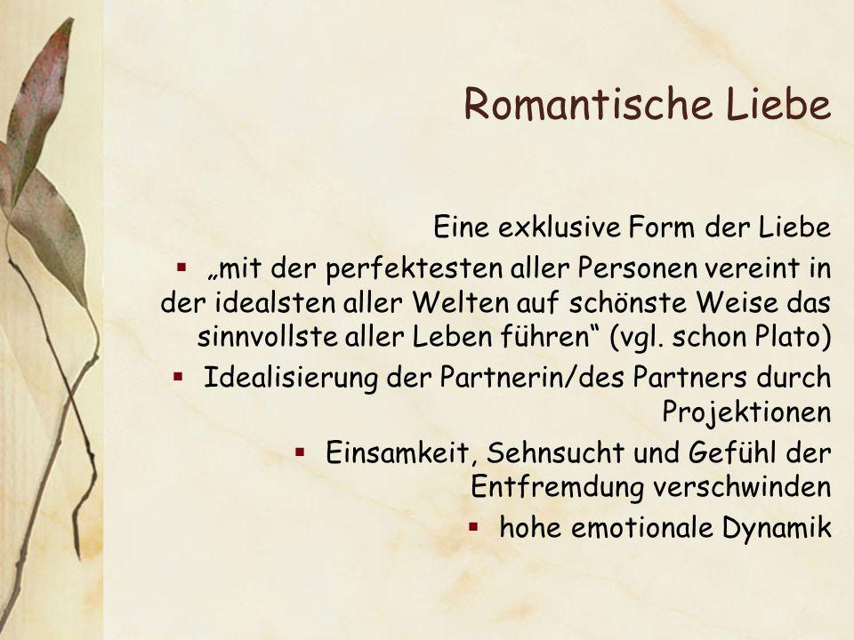 Romantische Liebe Eine exklusive Form der Liebe mit der perfektesten aller Personen vereint in der idealsten aller Welten auf schönste Weise das sinnvollste aller Leben führen (vgl.