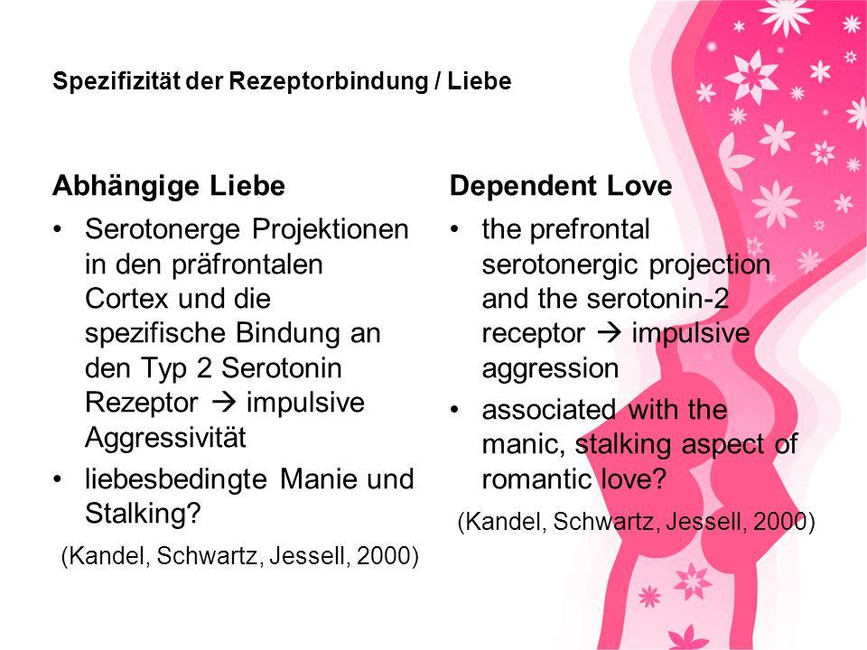 Love & Serotonin levels Romantische Liebe Menschen mit Veranlagung sich zu verlieben Niedrigerer Serotoninspiegel (Kurup und Kurup, 2003) Romantic Love individuals with a predisposition to fall in love lower blood serotonin levels (Kurup and Kurup, 2003)