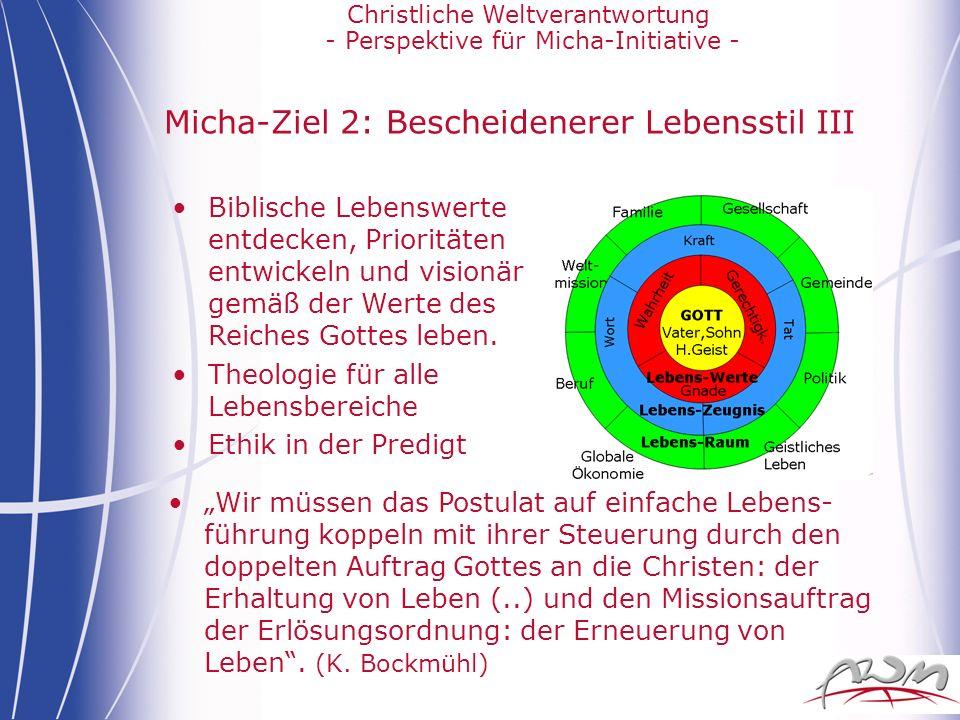 Christliche Weltverantwortung - Perspektive für Micha-Initiative - Micha-Ziel 2: Bescheidenerer Lebensstil III Wir müssen das Postulat auf einfache Le
