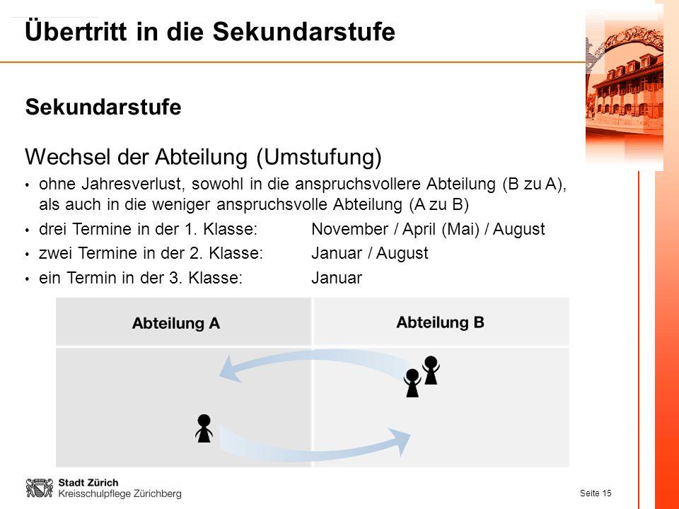 Seite 15 Übertritt in die Sekundarstufe Wechsel der Abteilung (Umstufung) ohne Jahresverlust, sowohl in die anspruchsvollere Abteilung (B zu A), als a