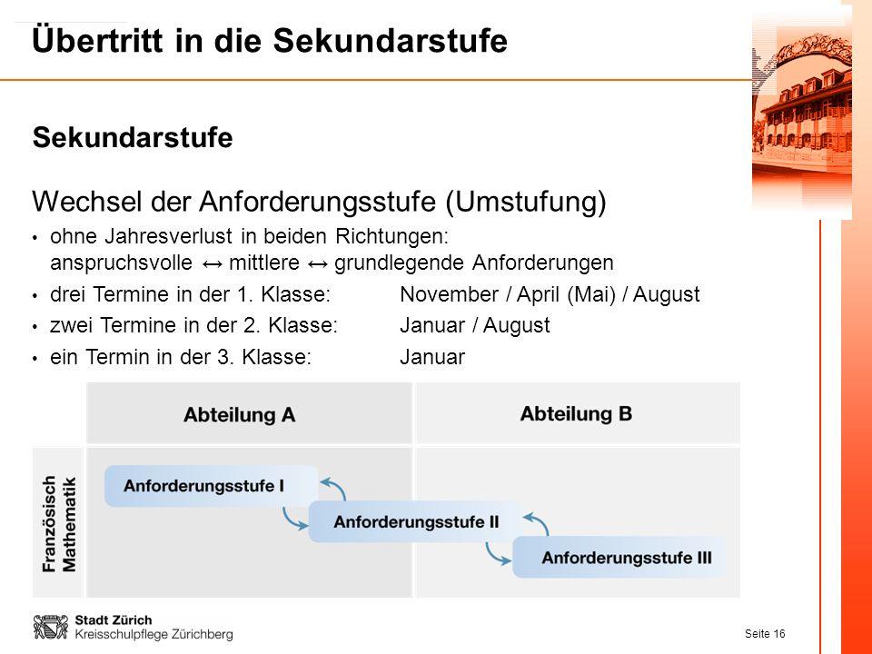Seite 16 Übertritt in die Sekundarstufe Wechsel der Anforderungsstufe (Umstufung) ohne Jahresverlust in beiden Richtungen: anspruchsvolle mittlere gru