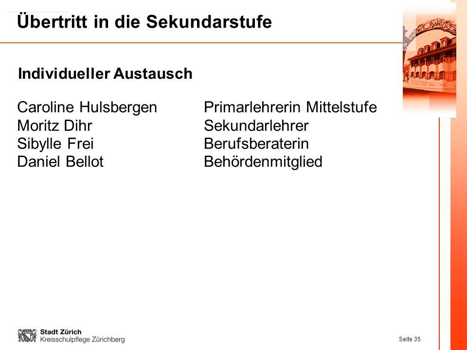 Seite 35 Übertritt in die Sekundarstufe Individueller Austausch Caroline HulsbergenPrimarlehrerin Mittelstufe Moritz DihrSekundarlehrer Sibylle FreiBe