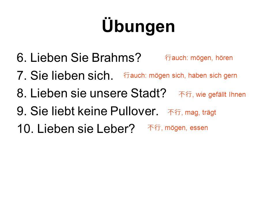 Übungen 6.Lieben Sie Brahms. 7. Sie lieben sich. 8.