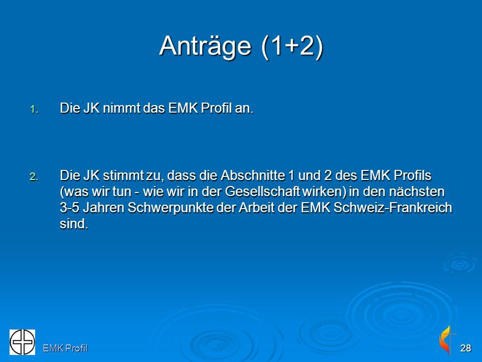EMK Profil28 Anträge (1+2) 1. Die JK nimmt das EMK Profil an. 2. Die JK stimmt zu, dass die Abschnitte 1 und 2 des EMK Profils (was wir tun - wie wir