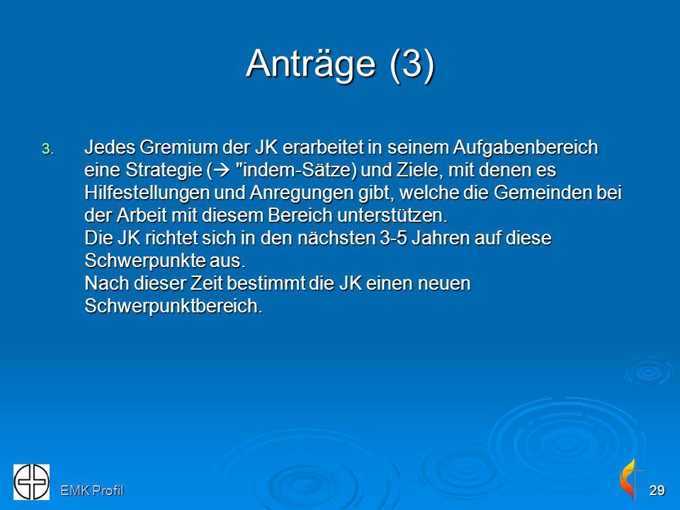 EMK Profil29 Anträge (3) 3. Jedes Gremium der JK erarbeitet in seinem Aufgabenbereich eine Strategie (