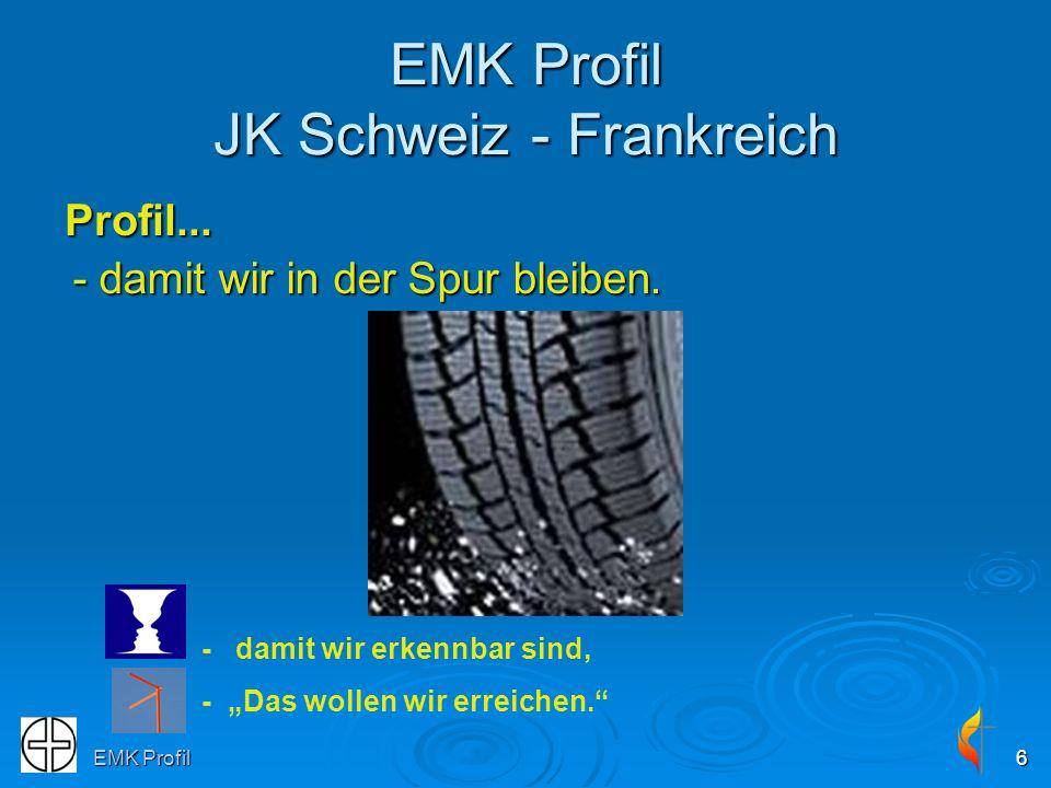 EMK Profil6 EMK Profil JK Schweiz - Frankreich Profil... - damit wir erkennbar sind, - Das wollen wir erreichen. - damit wir in der Spur bleiben.