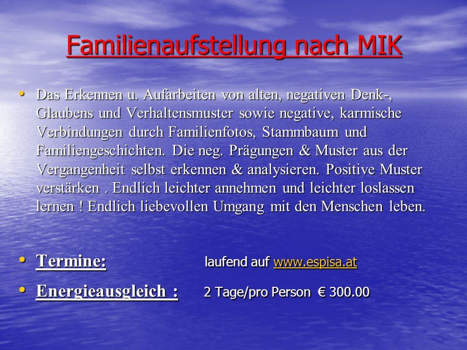 Familienaufstellung nach MIK Das Erkennen u. Aufarbeiten von alten, negativen Denk-, Glaubens und Verhaltensmuster sowie negative, karmische Verbindun