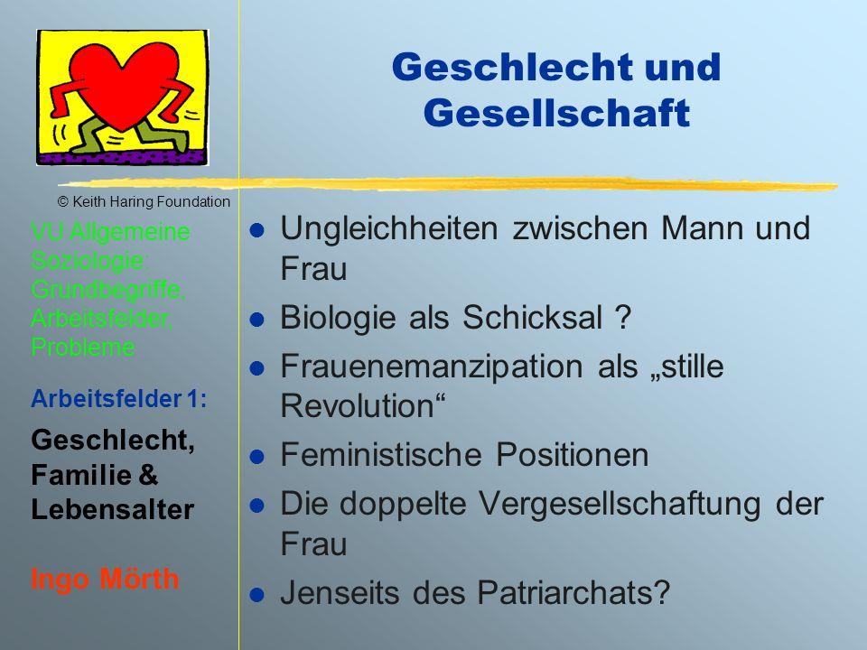 © Keith Haring Foundation VU Allgemeine Soziologie: Grundbegriffe, Arbeitsfelder, Probleme Arbeitsfelder 1: Geschlecht, Familie & Lebensalter Ingo Mör