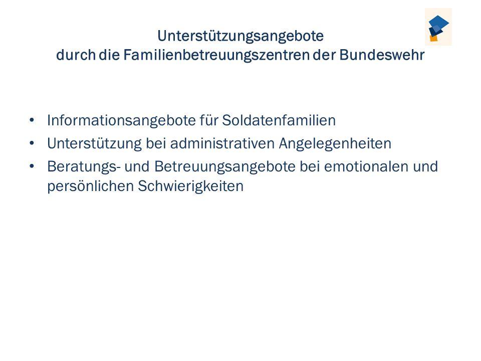 Unterstützungsangebote durch die Familienbetreuungszentren der Bundeswehr Informationsangebote für Soldatenfamilien Unterstützung bei administrativen