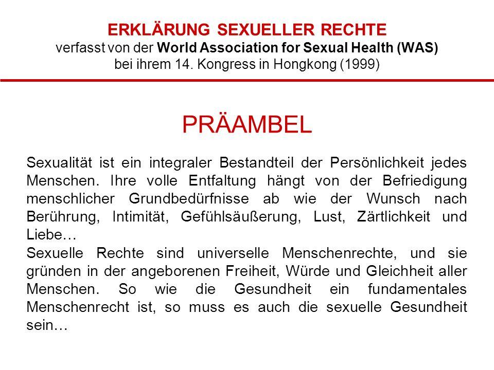 ERKLÄRUNG SEXUELLER RECHTE verfasst von der World Association for Sexual Health (WAS) bei ihrem 14.