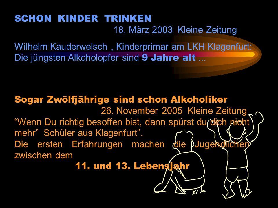 Kinder im Rausch Die jüngste Betrunkene war erst elf Jahre alt 06.November.