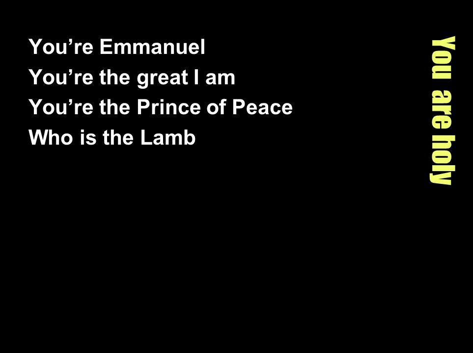 You are holy Youre Emmanuel Youre the great I am Youre the Prince of Peace Who is the Lamb