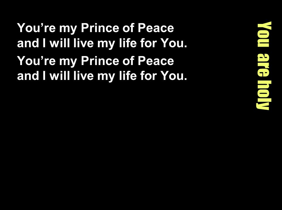 You are holy Youre my Prince of Peace and I will live my life for You.
