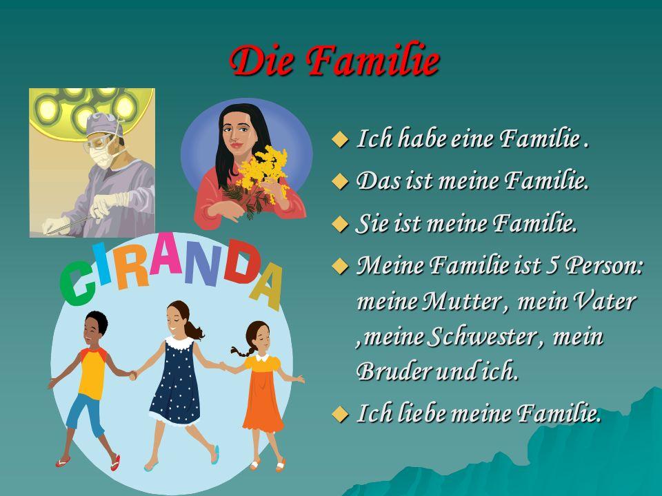 Die Familie Ich habe eine Familie. Ich habe eine Familie. Das ist meine Familie. Das ist meine Familie. Sie ist meine Familie. Sie ist meine Familie.
